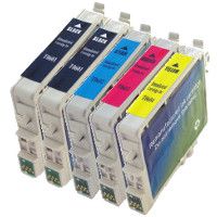 Epson T060120 / T060220 / T060320 / T060420 Remanufactured InkJet Cartridge Value Pack (2 Black / 1 Cyan / 1 Magenta / 1 Yellow)