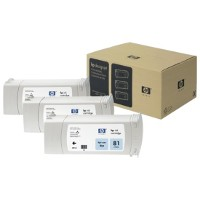 Hewlett Packard HP C5070A (HP 81) Dye Ink Light Cyan InkJet Cartridges Multi-Pack (3 Pack of C4934A)