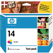 Hewlett Packard HP C9342FN (HP 14) InkJet Cartridge Twin Pack