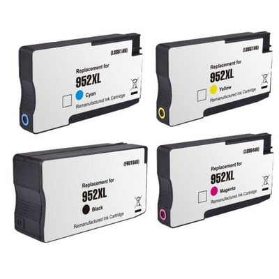 Remanufactured HP 952XL Black / 952XL Cyan / 952XL Magenta / 952XL Yellow Inkjet Cartridge MultiPack