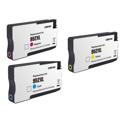 Remanufactured HP 952XL Cyan / 952XL Magenta / 952XL Yellow Inkjet Cartridge MultiPack