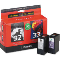 Lexmark 18C0532 (Lexmark Twin-Pack #32, #33) InkJet Cartridge Combo Pack