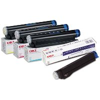 A Set of 4 Okidata Laser Toner Cartridges 1 of each color (41012301 , 41012302 , 41012303 , 41012304)